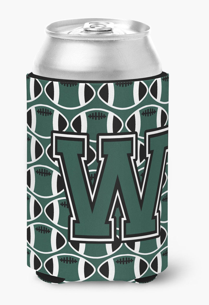 Buy this Letter W Football Green and White Can or Bottle Hugger CJ1071-WCC