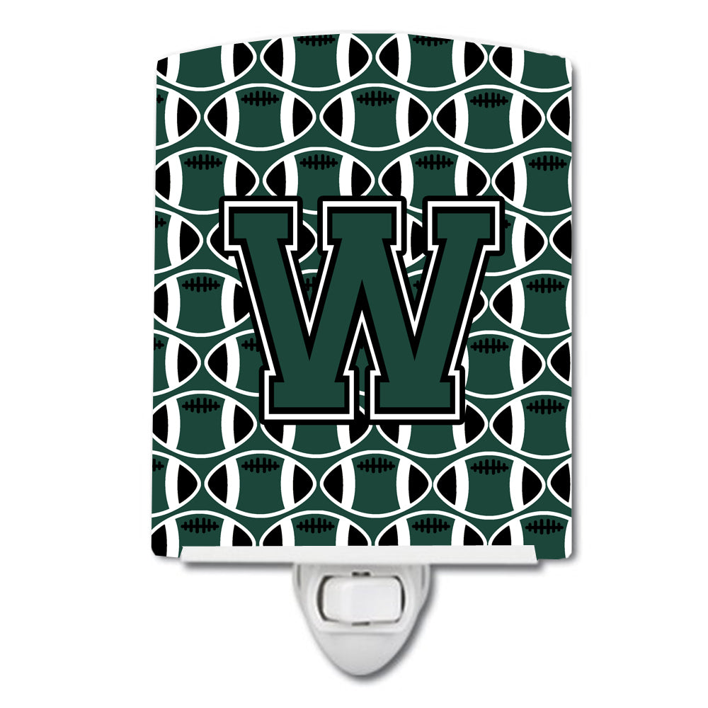 Buy this Letter W Football Green and White Ceramic Night Light CJ1071-WCNL