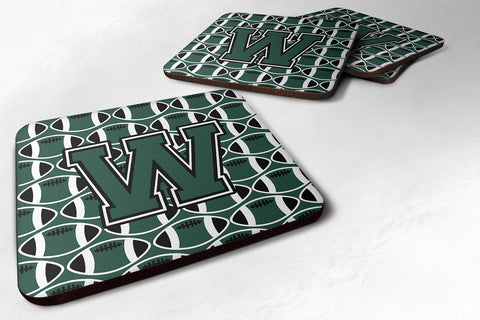 Buy this Letter W Football Green and White Foam Coaster Set of 4 CJ1071-WFC