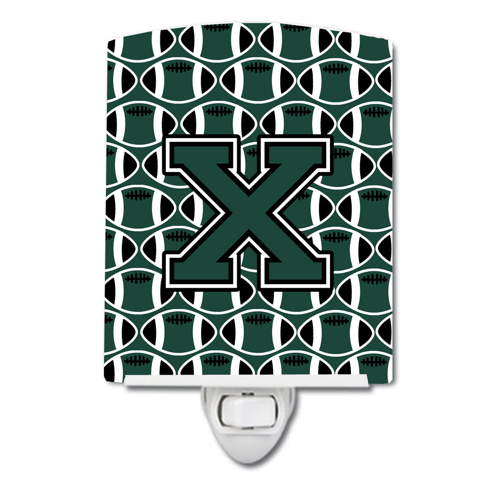 Buy this Letter X Football Green and White Ceramic Night Light CJ1071-XCNL