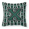 Letter X Football Green and White Fabric Decorative Pillow CJ1071-XPW1414 by Caroline's Treasures