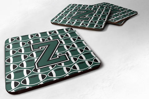 Buy this Letter Z Football Green and White Foam Coaster Set of 4 CJ1071-ZFC