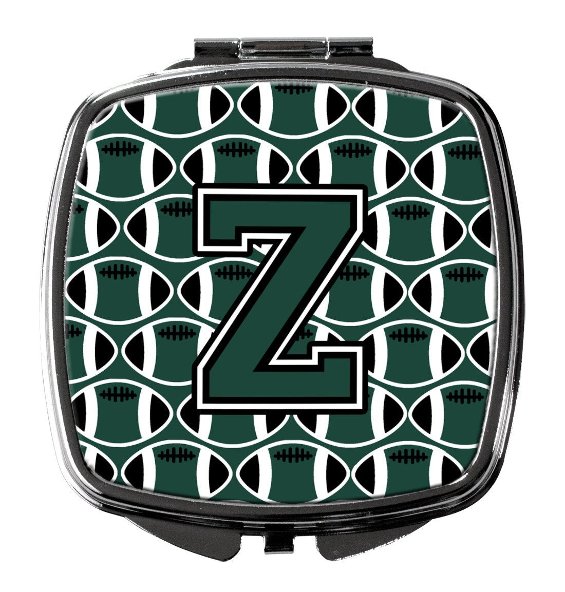 Letter Z Football Green and White Compact Mirror CJ1071-ZSCM by Caroline's Treasures