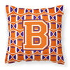 Buy this Letter B Football Orange, White and Regalia Fabric Decorative Pillow CJ1072-BPW1414