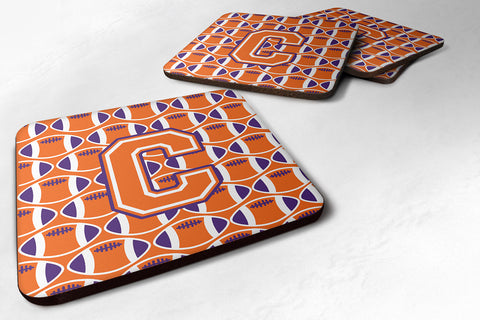 Buy this Letter C Football Orange, White and Regalia Foam Coaster Set of 4 CJ1072-CFC