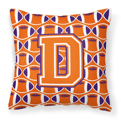 Buy this Letter D Football Orange, White and Regalia Fabric Decorative Pillow CJ1072-DPW1414