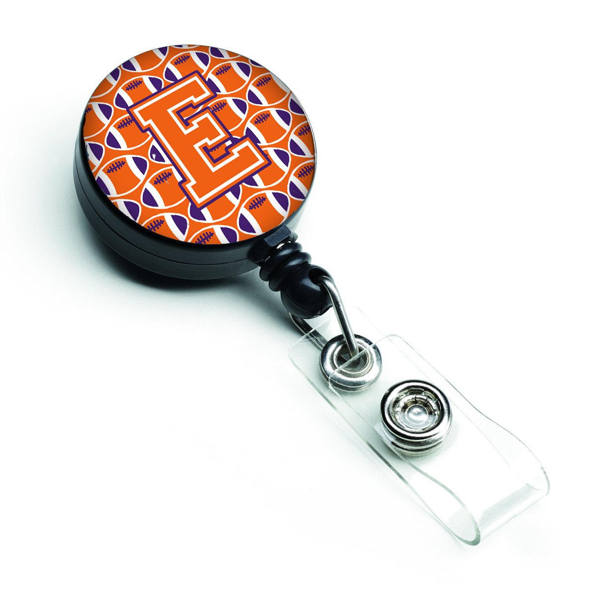 Letter E Football Orange, White and Regalia Retractable Badge Reel CJ1072-EBR by Caroline's Treasures
