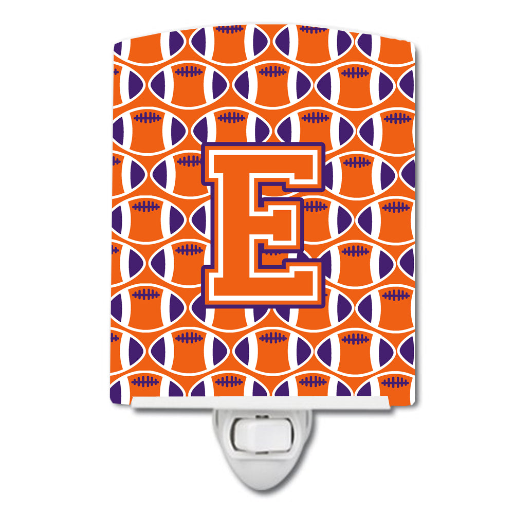 Buy this Letter E Football Orange, White and Regalia Ceramic Night Light CJ1072-ECNL
