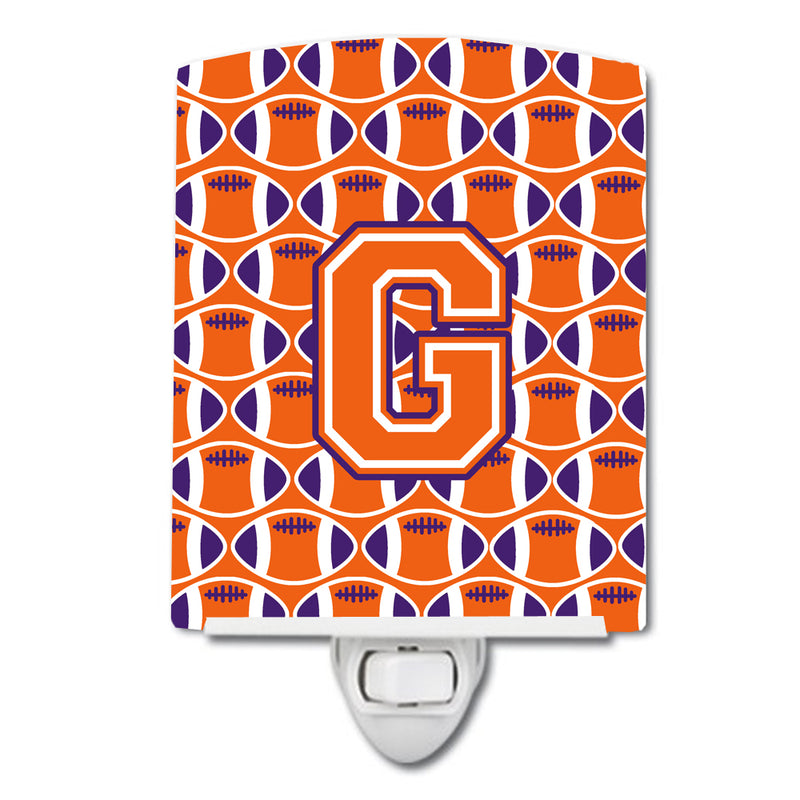 Buy this Letter G Football Orange, White and Regalia Ceramic Night Light CJ1072-GCNL