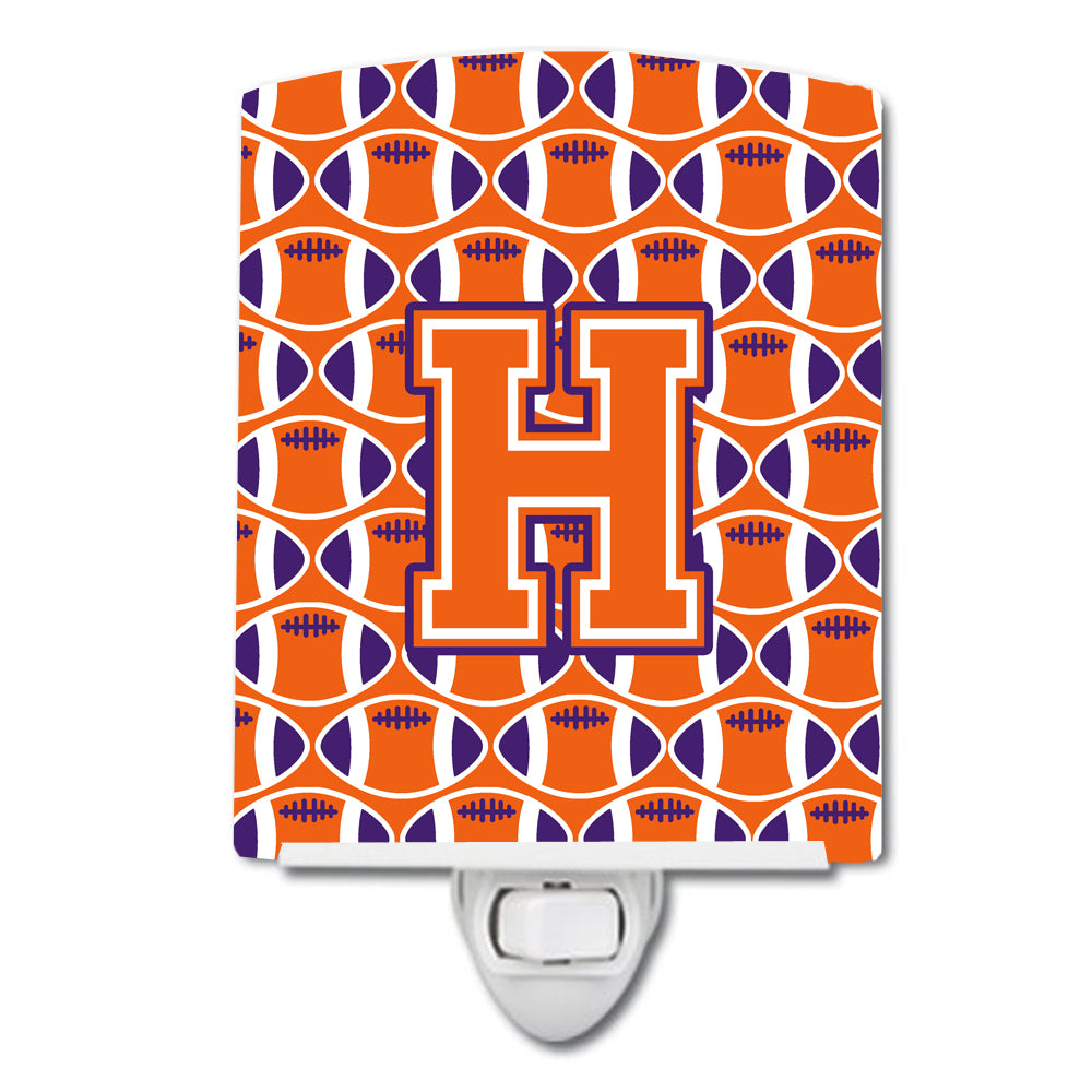 Letter H Football Orange, White and Regalia Ceramic Night Light CJ1072-HCNL by Caroline's Treasures