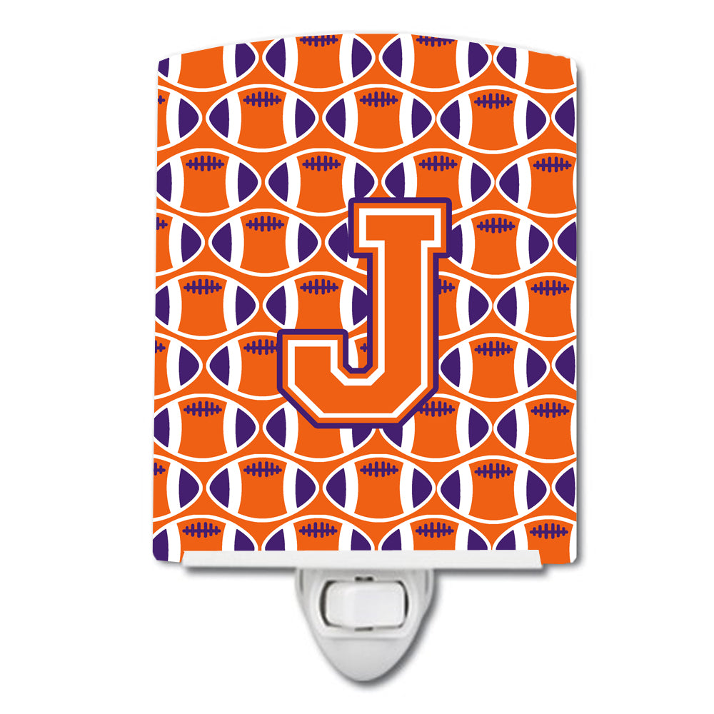 Letter J Football Orange, White and Regalia Ceramic Night Light CJ1072-JCNL by Caroline's Treasures