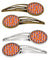 Buy this Letter J Football Orange, White and Regalia Set of 4 Barrettes Hair Clips CJ1072-JHCS4