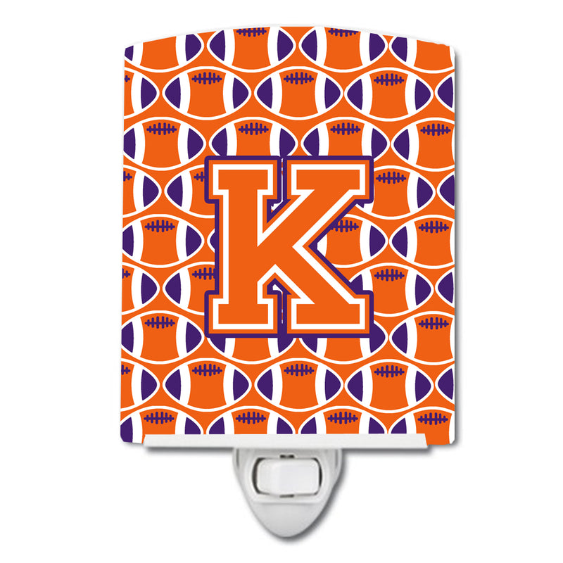 Buy this Letter K Football Orange, White and Regalia Ceramic Night Light CJ1072-KCNL