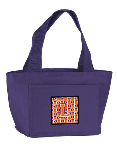 Buy this Letter L Football Orange, White and Regalia Lunch Bag CJ1072-LPR-8808