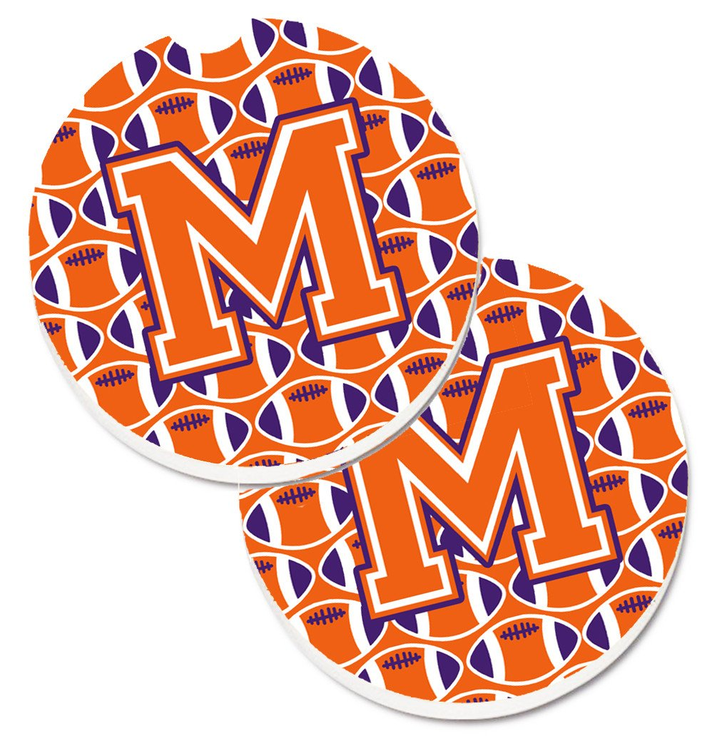 Letter M Football Orange, White and Regalia Set of 2 Cup Holder Car Coasters CJ1072-MCARC by Caroline's Treasures