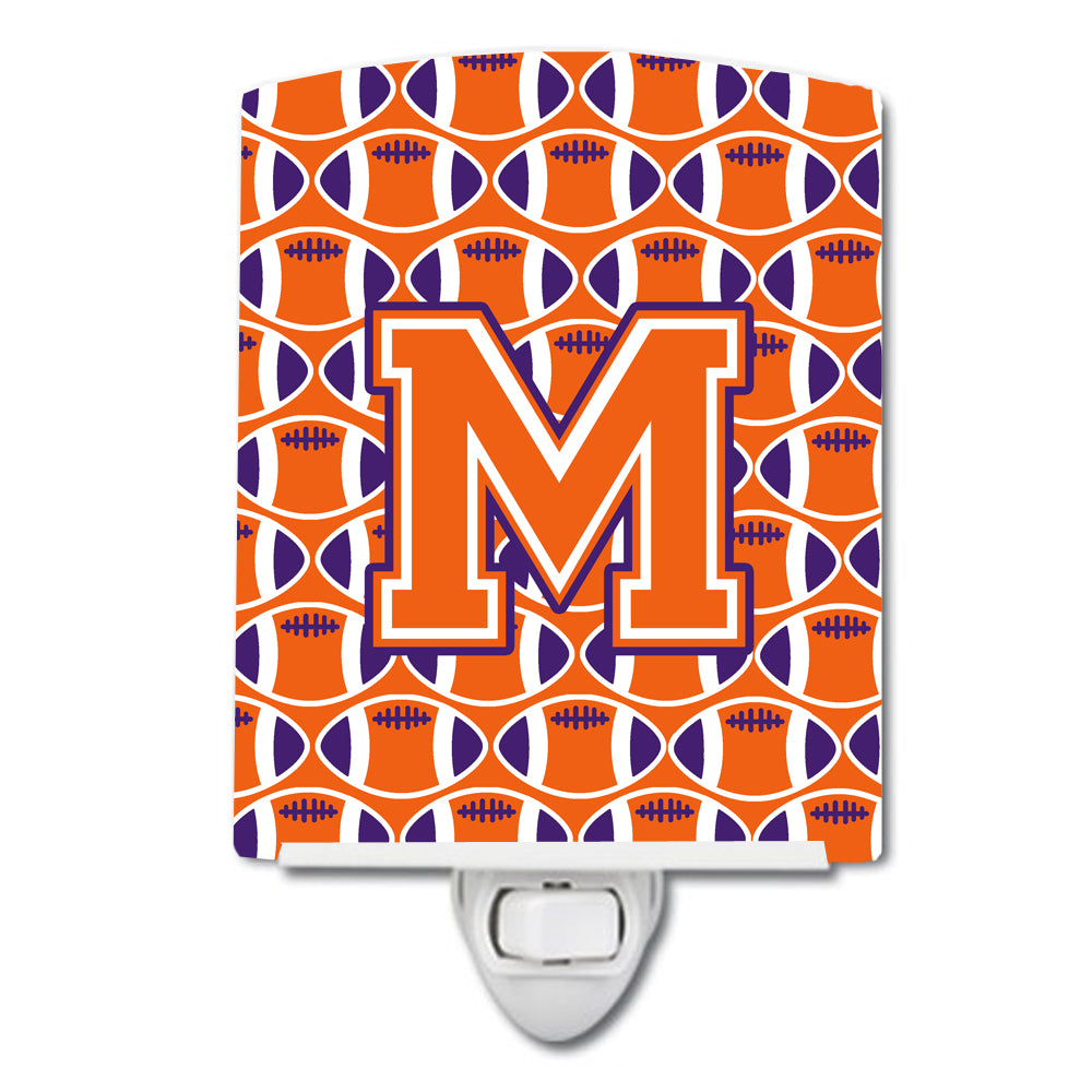 Letter M Football Orange, White and Regalia Ceramic Night Light CJ1072-MCNL by Caroline's Treasures