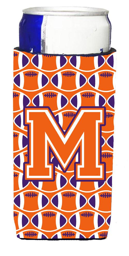 Letter M Football Orange, White and Regalia Ultra Beverage Insulators for slim cans CJ1072-MMUK by Caroline's Treasures
