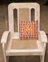 Letter M Football Orange, White and Regalia Fabric Decorative Pillow CJ1072-MPW1414