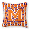 Buy this Letter M Football Orange, White and Regalia Fabric Decorative Pillow CJ1072-MPW1414