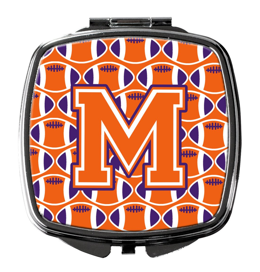 Letter M Football Orange, White and Regalia Compact Mirror CJ1072-MSCM by Caroline's Treasures