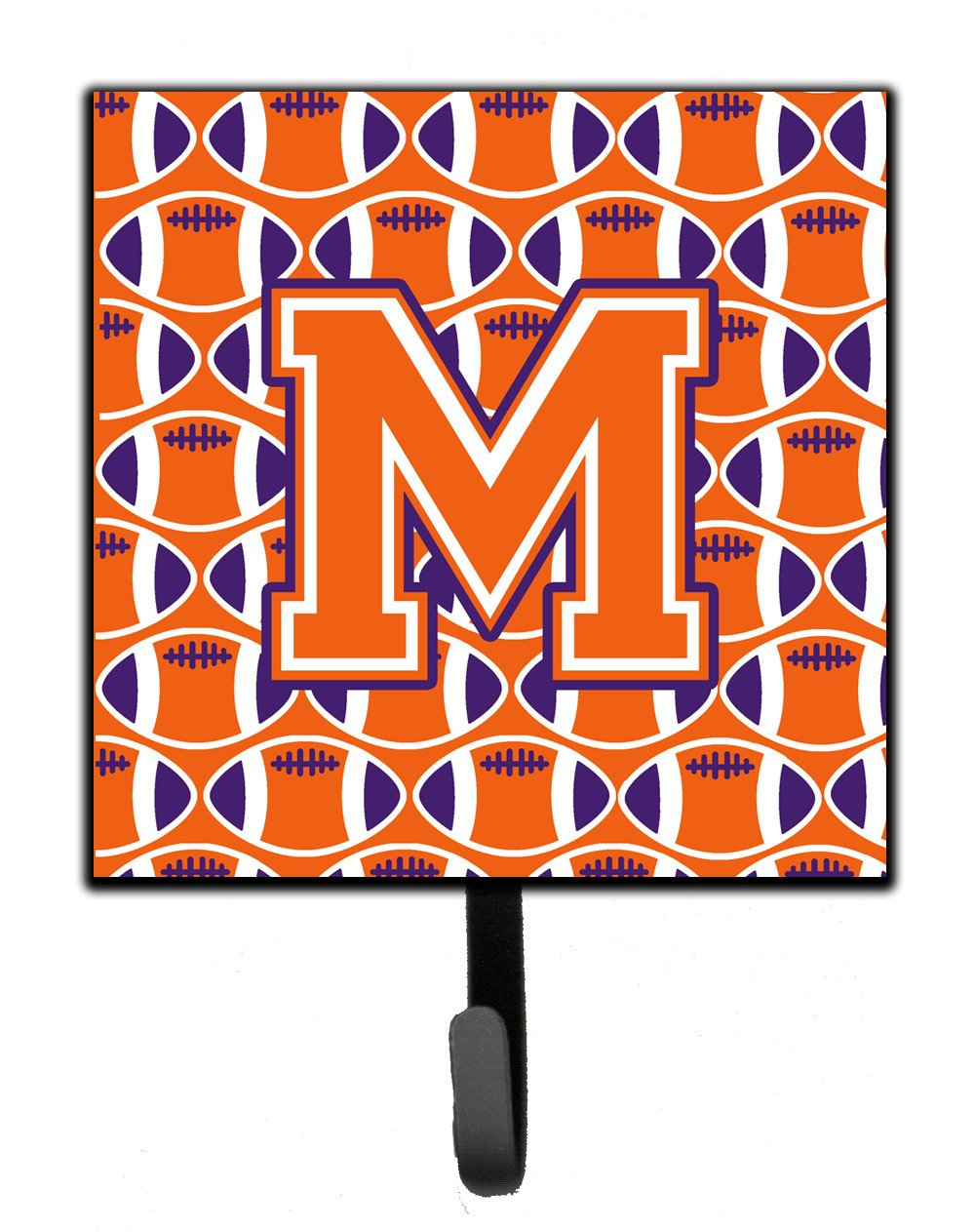Letter M Football Orange, White and Regalia Leash or Key Holder CJ1072-MSH4 by Caroline's Treasures