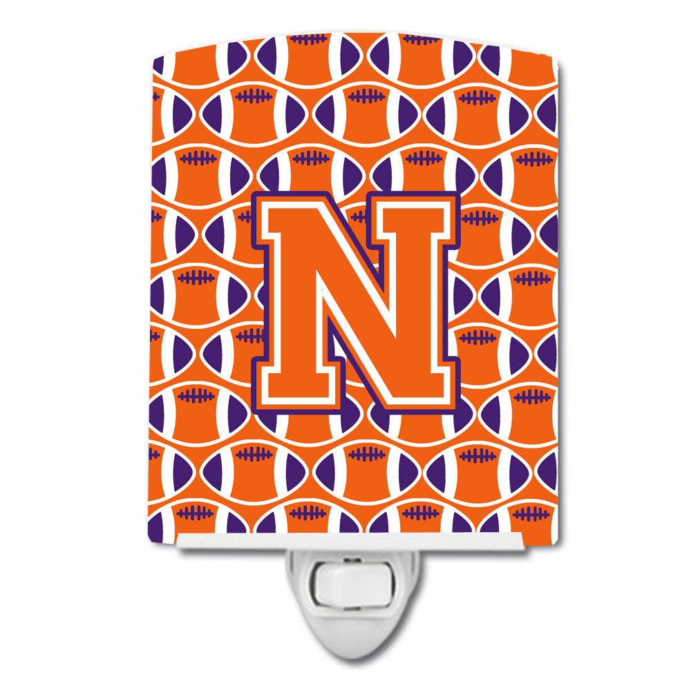Buy this Letter N Football Orange, White and Regalia Ceramic Night Light CJ1072-NCNL