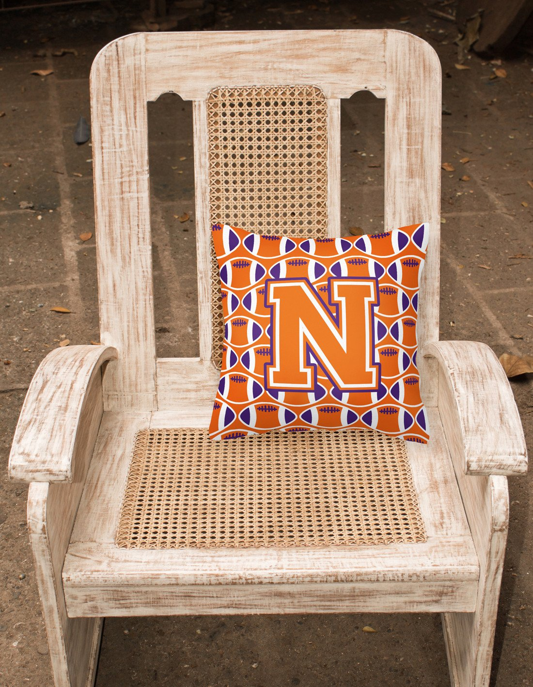 Letter N Football Orange, White and Regalia Fabric Decorative Pillow CJ1072-NPW1414 by Caroline's Treasures