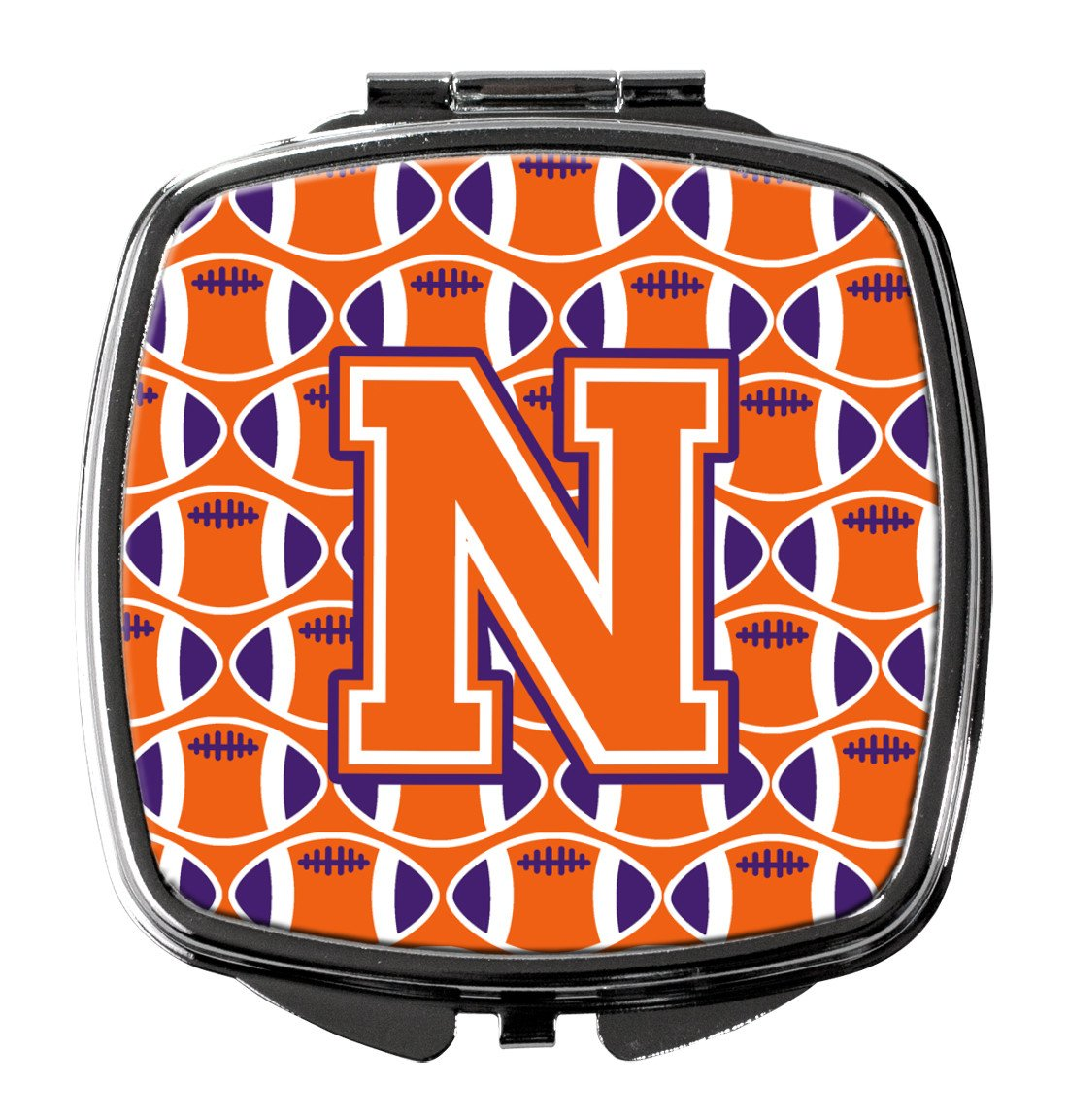 Letter N Football Orange, White and Regalia Compact Mirror CJ1072-NSCM by Caroline's Treasures