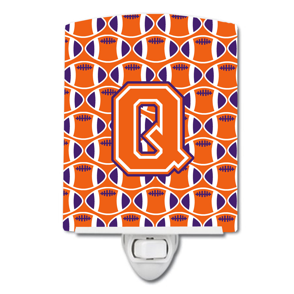 Buy this Letter Q Football Orange, White and Regalia Ceramic Night Light CJ1072-QCNL