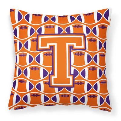 Buy this Letter T Football Orange, White and Regalia Fabric Decorative Pillow CJ1072-TPW1414