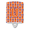 Buy this Letter U Football Orange, White and Regalia Ceramic Night Light CJ1072-UCNL