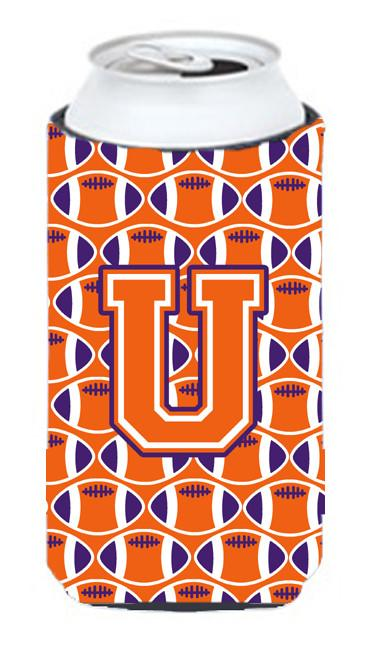 Buy this Letter U Football Orange, White and Regalia Tall Boy Beverage Insulator Hugger CJ1072-UTBC