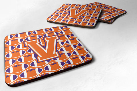 Buy this Letter V Football Orange, White and Regalia Foam Coaster Set of 4 CJ1072-VFC