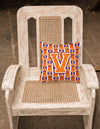 Letter V Football Orange, White and Regalia Fabric Decorative Pillow CJ1072-VPW1414