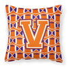 Buy this Letter V Football Orange, White and Regalia Fabric Decorative Pillow CJ1072-VPW1414