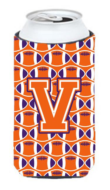 Letter V Football Orange, White and Regalia Tall Boy Beverage Insulator Hugger CJ1072-VTBC by Caroline's Treasures
