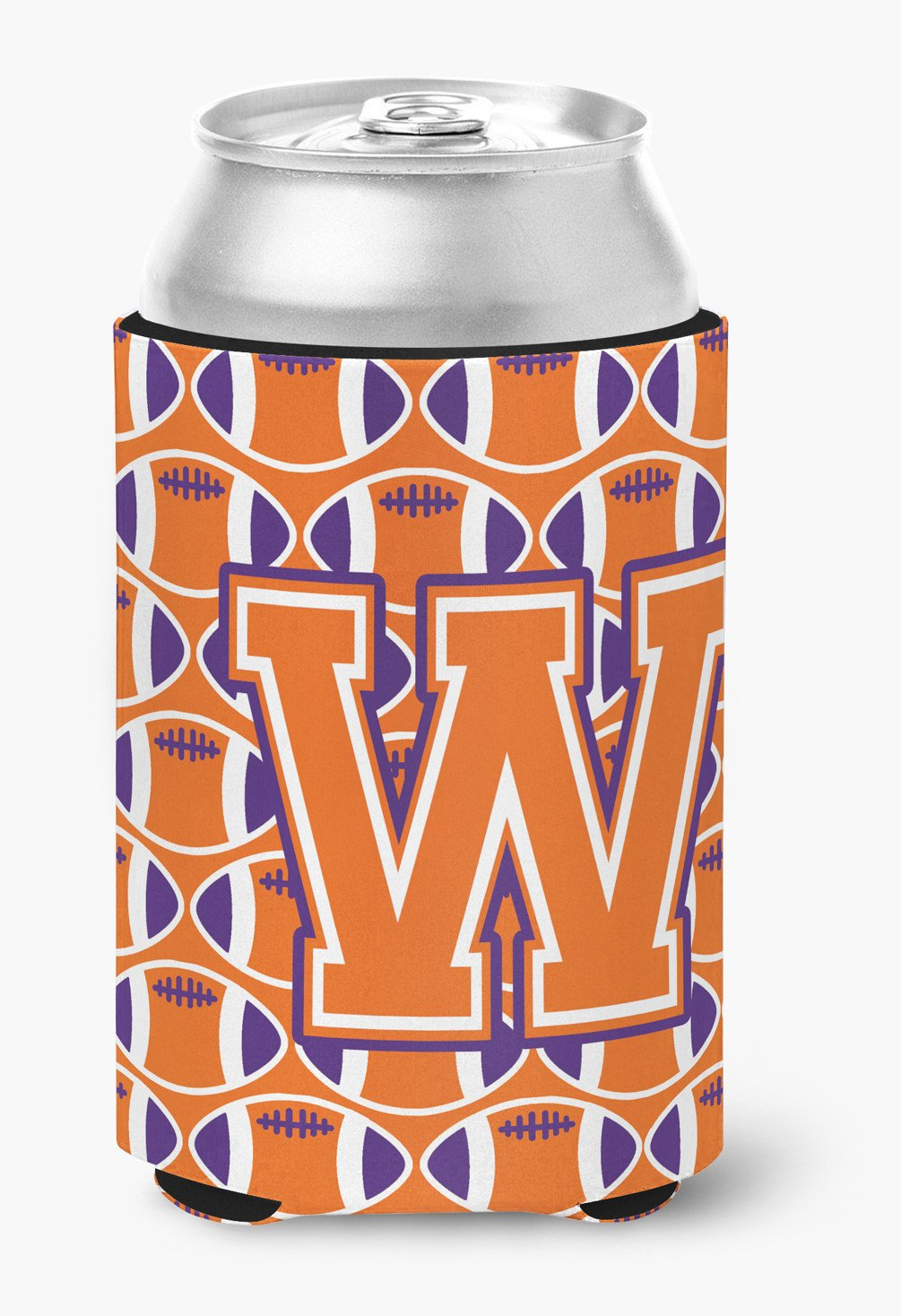Buy this Letter W Football Orange, White and Regalia Can or Bottle Hugger CJ1072-WCC