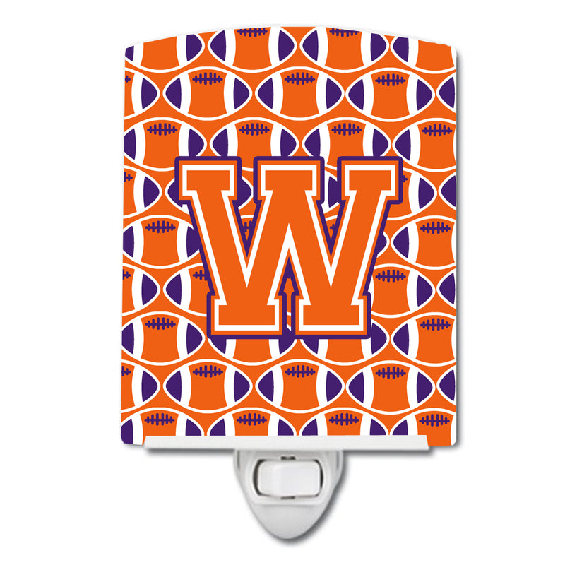Buy this Letter W Football Orange, White and Regalia Ceramic Night Light CJ1072-WCNL