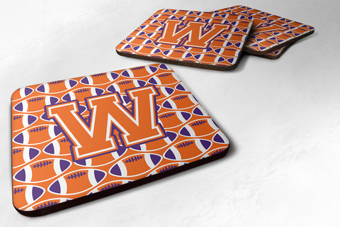 Buy this Letter W Football Orange, White and Regalia Foam Coaster Set of 4 CJ1072-WFC