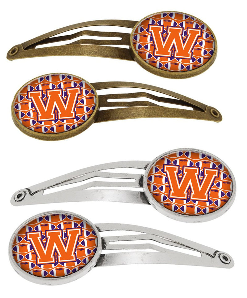Buy this Letter W Football Orange, White and Regalia Set of 4 Barrettes Hair Clips CJ1072-WHCS4