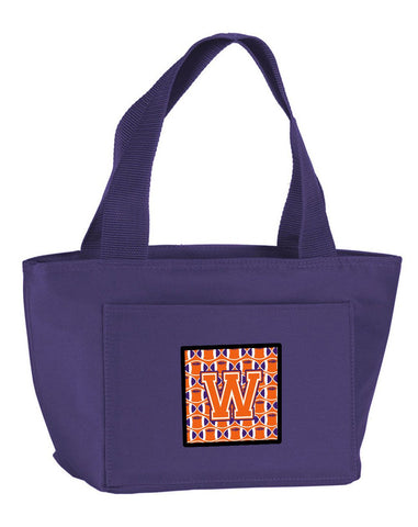 Buy this Letter W Football Orange, White and Regalia Lunch Bag CJ1072-WPR-8808