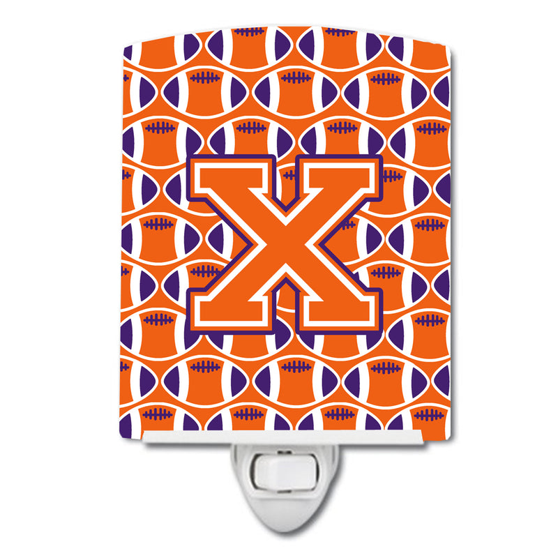 Buy this Letter X Football Orange, White and Regalia Ceramic Night Light CJ1072-XCNL