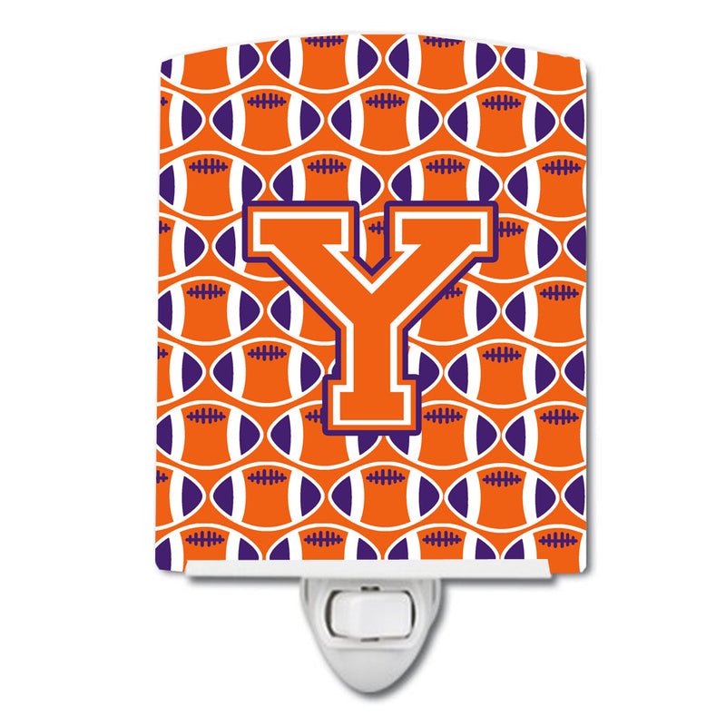Buy this Letter Y Football Orange, White and Regalia Ceramic Night Light CJ1072-YCNL