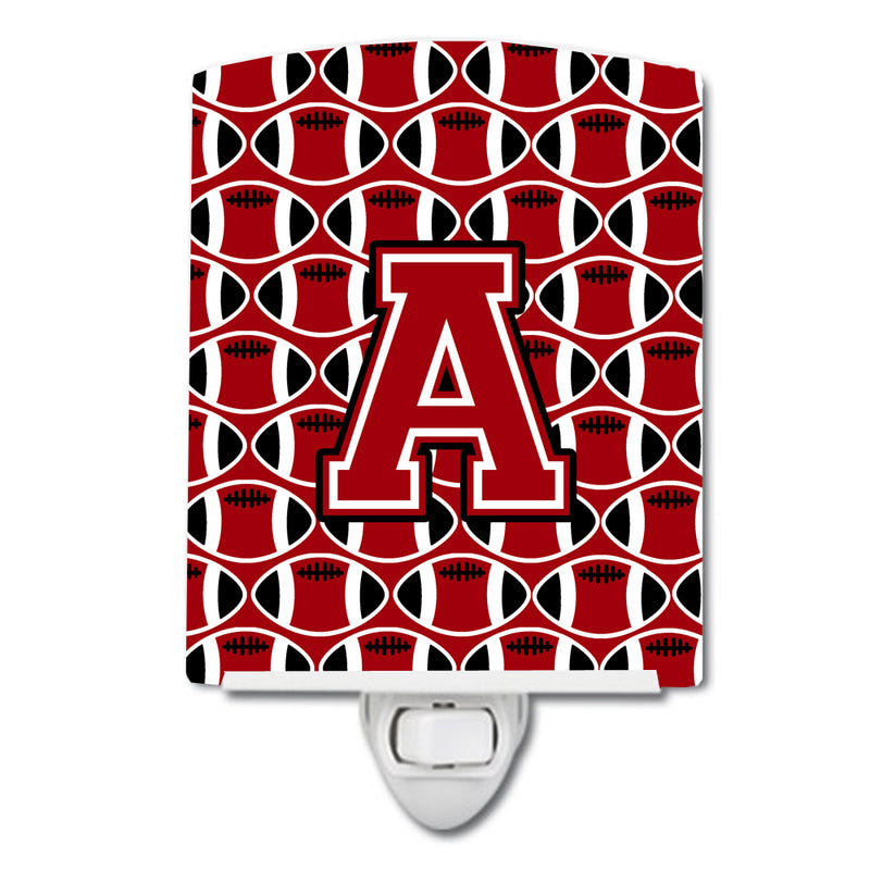Buy this Letter A Football Red, Black and White Ceramic Night Light CJ1073-ACNL