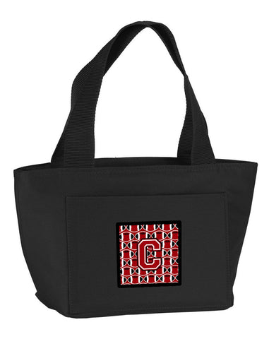 Buy this Letter C Football Red, Black and White Lunch Bag CJ1073-CBK-8808