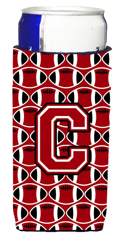 Letter C Football Red, Black and White Ultra Beverage Insulators for slim cans CJ1073-CMUK by Caroline's Treasures