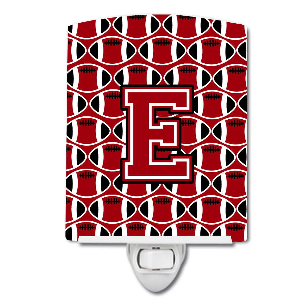 Buy this Letter E Football Red, Black and White Ceramic Night Light CJ1073-ECNL