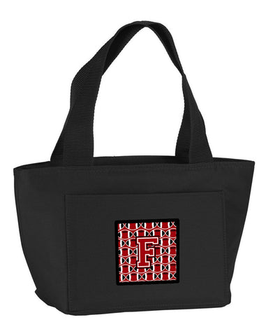 Buy this Letter F Football Red, Black and White Lunch Bag CJ1073-FBK-8808