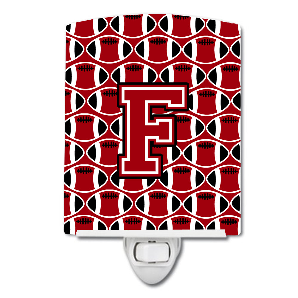 Buy this Letter F Football Red, Black and White Ceramic Night Light CJ1073-FCNL