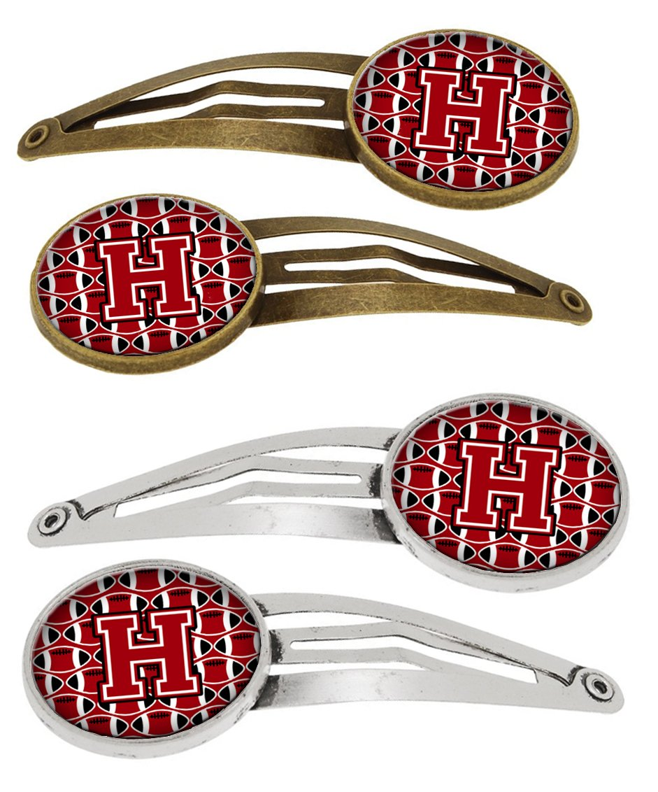 Letter H Football Red, Black and White Set of 4 Barrettes Hair Clips CJ1073-HHCS4 by Caroline's Treasures